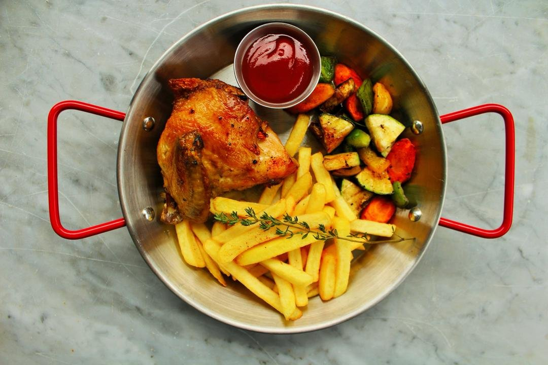 Grilled Chicken, fries and veggies